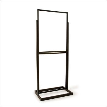 "22"" x 28"" Double Bulletin Sign Holder w/ Rectangular Tubing Base - Black and Chrome"