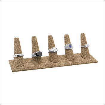 Burlap Ring Display Five Finger