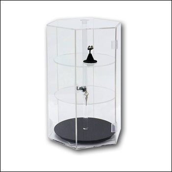 Revolving Hexagon Shape Acrylic Display Case