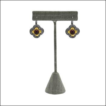 Grey Linen Earring Stand (Med.)