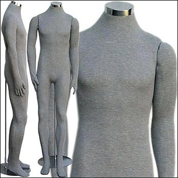Headless Male Soft Body Bendable Mannequin - Multiple Finish Options