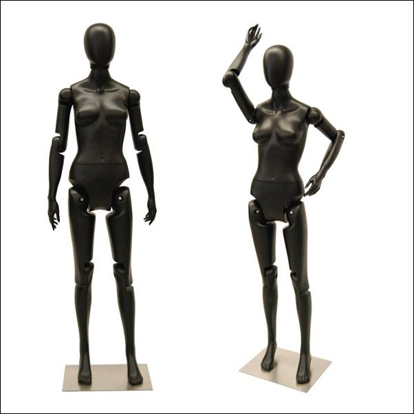 Female Black Flex Mannequin With Articulated Movable Joints