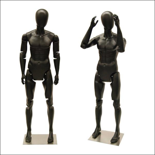 Men's Black Flex Mannequin with Articulated Movable Joints