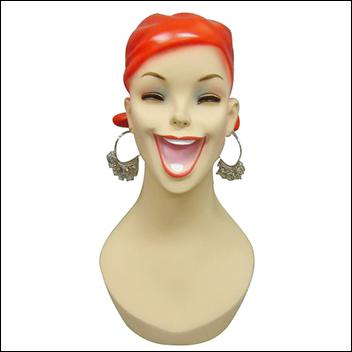 Red Hair, With Open Smile Mouth Female Mannequin Head