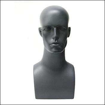 Dark Gray Male Mannequin Head