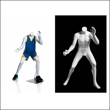 Headless Boy Mannequin Playing Basketball Pose
