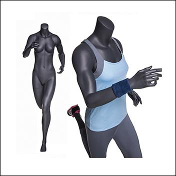 Headless Female Running Mannequin - Matte Gray