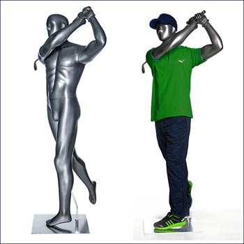 Action Male Golfer Mannequin - After Hit Pose