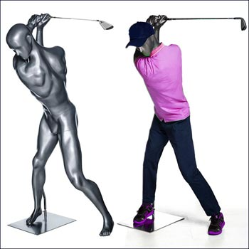 Action Male Golf Mannequin - High Swing Aim Pose