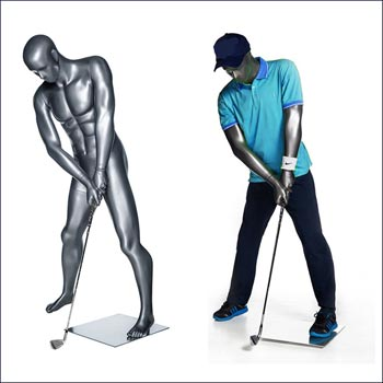 Action Male Golf Mannequin - Ball Strike or Putt Pose