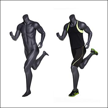 Headless Male Running Mannequin - Matte Gray