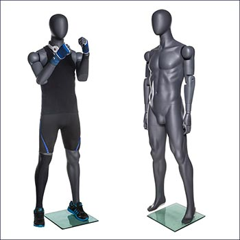 Male Articulated Flex Arm and Fingers Athletic Mannequin