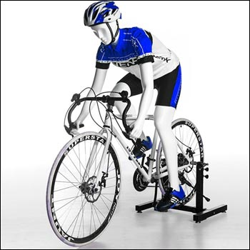 Male Bike Pedaling Pose Mannequin - Gloss White