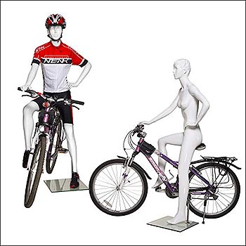 Female Bike Riding Mannequin with Hands On Hip - Gloss White