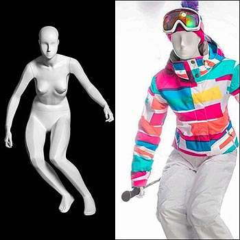 Female Retail Ski Mannequin Display - Gloss White
