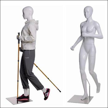 Walking or Hiking Female Mannequin with Hiking Stick Pose