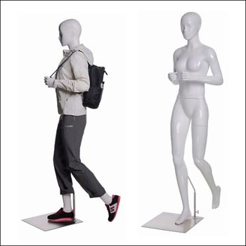 Walking or Hiking Female Mannequin Gripping Backpack Pose