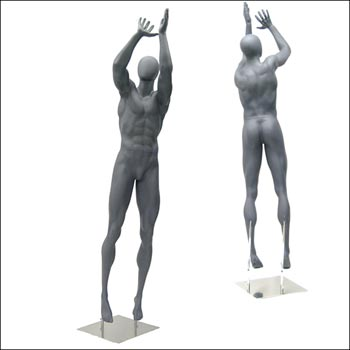 Athletic Basketball Jump Shot Pose Mannequin Display - Matte Gray