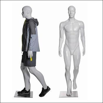 Walking or Hiking Pose Male Mannequin - Gloss White