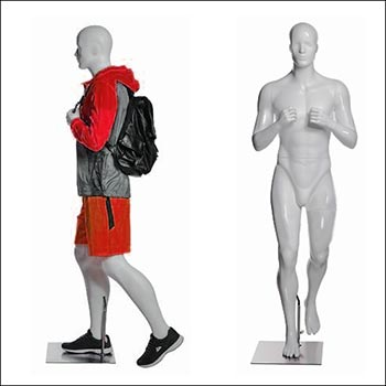 Walking or Hiking Male Mannequin Gripping Backpack Pose
