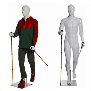 Walking or Hiking Male Mannequin with Hiking Stick Pose