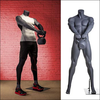 Muscular Male Mannequin - Kettlebell Workout Pose
