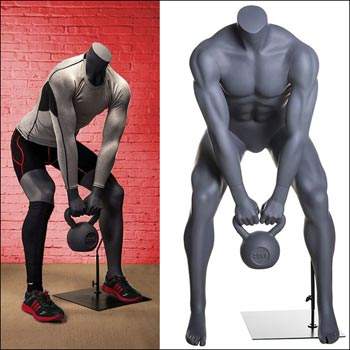 Muscular Male Mannequin Squatting with Kettlebell