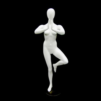 White Yoga Mannequin Display - Tree Namaste Pose