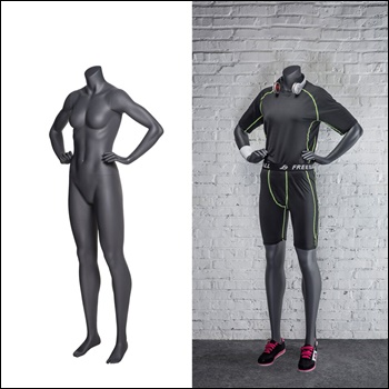 Female Headless Mannequin, Athletic Style. Standing pose with Both Hands on Waist.