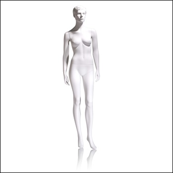 Female Mannequin - Molded Hair, Hands by Side, Left Leg Slightly Bent