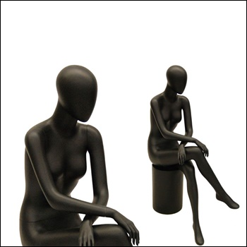 Egg Head Female Mannequin, sitting Pose