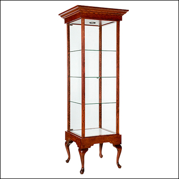 Classic Royal Tower Showcase Display with Crown Molding - Multiple Finish Options