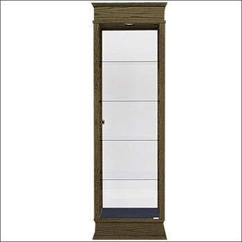 Classic Real Wood Rectangle Tower Showcase - Multiple Finish Options