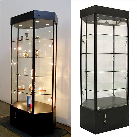 Contemporary Angled Edge Glass to Glass Showcase with LED Lights and Storage Red 3 Display