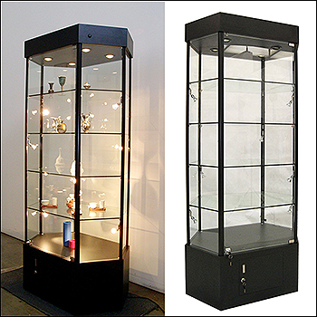 Contemporary Angled Edge Glass to Glass Showcase with LED Lights and Storage