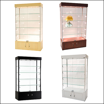 Economy Glass to Glass Showcase with Lights and Multiple Finish Options
