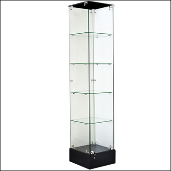"Economy Glass Tower Showcase with Black Base - 72""H"