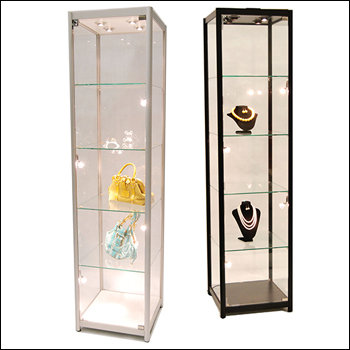 Economy Glass Tower Showcase with Lights - Multiple Finish Options