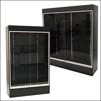 Black Economy Wall Case with Glass Shelves - Multiple Size Options