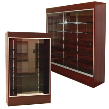 Cherry Economy Wall Case With Glass Shelves - Multiple Size Options