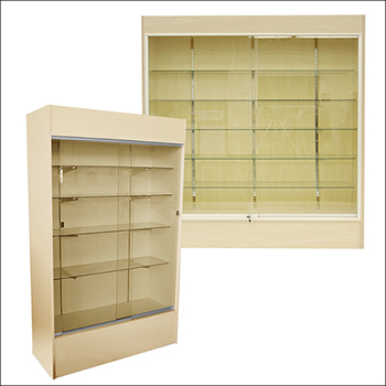 Maple Economy Wall Case with Glass Shelves - Multiple Size Options