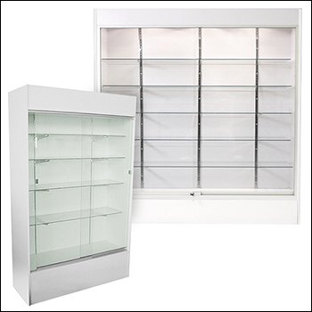 White Economy Wall Case with Glass Shelves - Multiple Size Options