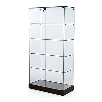 Economy Frameless Glass Display Case with Lock and Black Base