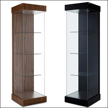 Euro Tall Tower Showcase for Wall - Multiple Finish Options