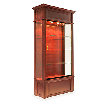 Euro Wood Veneered Trophy Wall Case with Crown Molding - Multiple Finish Options