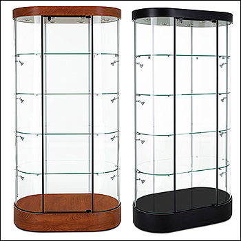 Contemporary Oval Euro Tower Showcase - Multiple Finish Options