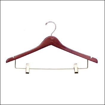 "17"" Wooden Suit Hanger with Clips (100ct.)"