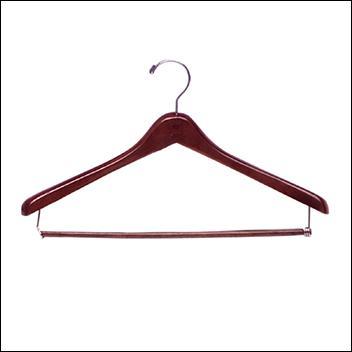 "17"" Deluxe Wooden Coat Hanger with Pant Lockbar 1"" THICK (50ct.)"