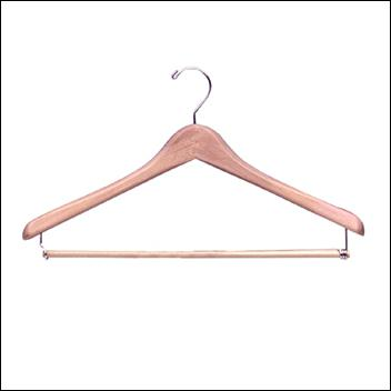 "17"" Deluxe Wooden Coat Hanger with Pant Lockbar 1"" THICK (50ct.)"