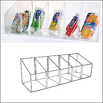Acrylic Angled Bins with Adjustable Dividers - Multi-Sizes